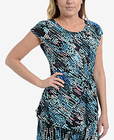 NY Collection Printed Side-Gathered Top
