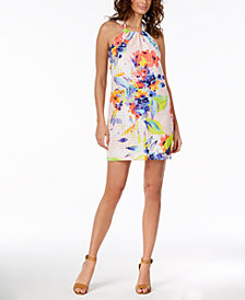 Trina Turk Cotton Juju Printed Eyelet Halter Dress, Created for Macy's