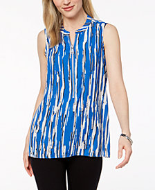 Alfani Printed Zip-Up High-Low Top, Created for Macy's