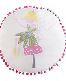 "Laura Hart Kids Garden Fairies 18"" Round Decorative Pillow"