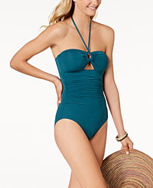 kate spade new york Bandeau Tummy-Control One- Piece Swimsuit