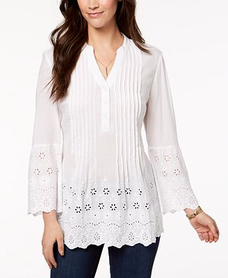 Style Co Cotton Eyelet Shirt Created For Macy S Tops Women