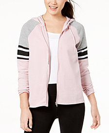 Material Girl Active Juniors' Colorblocked Zip-Up Hoodie, Created for Macy's