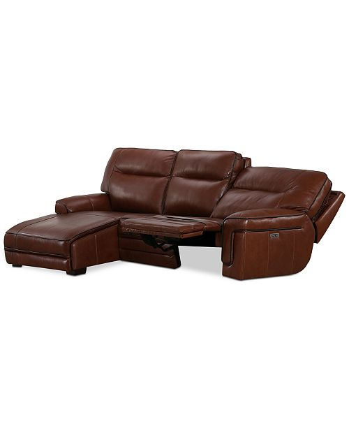 Furniture Myars 3-Pc. Leather Chaise Sectional Sofa With 1 Power Recliner, Power Headrests And USB Power Outlet, Created for Macy's