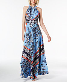 I.N.C. Petite Printed Halter Maxi Dress, Created for Macy's