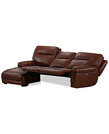 Myars 3-Pc. Leather Chaise Sectional Sofa With 2 Power Recliners, Power Headrests And USB Power Outlet, Created for Macy's
