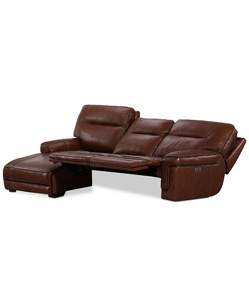 Myars 3 Pc Leather Chaise Sectional Sofa With 2 Recliners Headrests And Usb Outlet Created For Macy S