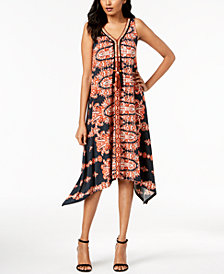 John Paul Richard Petite Printed Handkerchief-Hem Tassel Dress