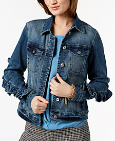 I.N.C. Ruffled-Sleeve Denim Jacket, Created for Macy's