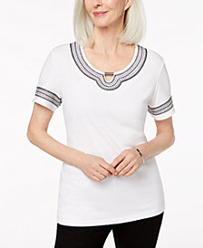 Karen Scott Embellished Keyhole T-Shirt, Created for Macy's