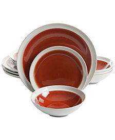 Gibson Elite Clementine Red 12-Pc. Dinnerware Set, Service for 4