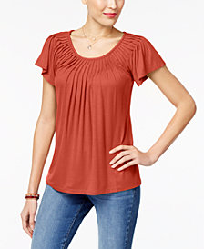 Style & Co Petite Pleated-Neck Top, Created for Macy's