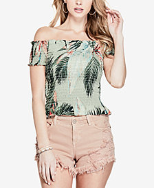 GUESS Darcee Smocked Off-The-Shoulder Top