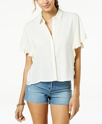 Juniors' Ruffle Sleeved Button Front Cropped Blouse by Freshman