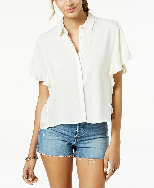 Juniors' Ruffle-Sleeved Button-Front Cropped Blouse