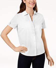 Karen Scott Petite Cotton Eyelet Shirt, Created for Macy's