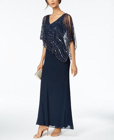 J Kara Beaded V-Neck Illusion-Overlay Gown