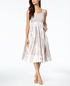R & M Richards Printed Sweetheart Midi Dress