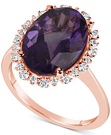 Amethyst (5-1/2 ct. t.w.) & Diamond (1/4 ct. t.w.) Ring in 14k Rose Gold