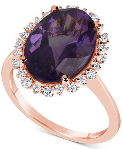 Amethyst (5-1/2 ct. t.w.) & Diamond (1/4 ct. t.w.) Ring in 14k Rose Gold