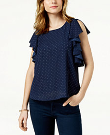 Maison Jules Printed Ruffled Top, Created for Macy's