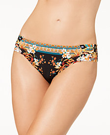 Kenneth Cole Tahiti Printed Tabbed Bikini Bottoms