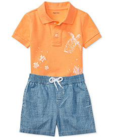 Polo Ralph Lauren Mesh Polo & Chambray Shorts Set, Baby Boys
