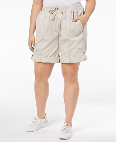 Calvin Klein Performance Plus Size Ribbed-Waistband Convertible Shorts