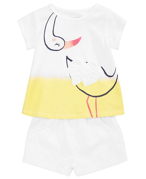 First Impressions Graphic-Print Tunic & Shorts Separates, Baby Girls, Created for Macy's