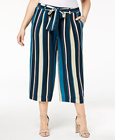 John Paul Richard Plus Size Striped Cropped Pants
