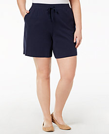 Karen Scott Plus Size Drawstring Shorts, Created for Macy's