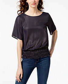 MICHAEL Michael Kors Dot Smocked-Hem Top, Regular & Petite, Created for Macy's