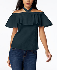 MICHAEL Michael Kors Flounce Halter Top, Regular & Petite, Created for Macy's