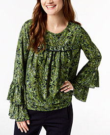 MICHAEL Michael Kors Print Tiered Top, Regular & Petite