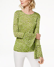 MICHAEL Michael Kors Print Bell-Sleeve Top, Regular & Petite
