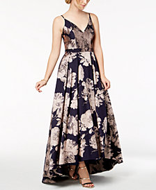 Xscape Floral-Brocade Ball Gown