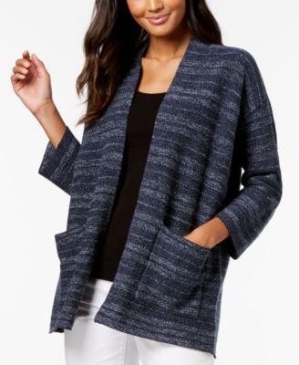 Organic Cotton Blend Striped Cardigan, Regular & Petite