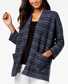 Eileen Fisher Organic Cotton Blend Striped Cardigan, Regular & Petite