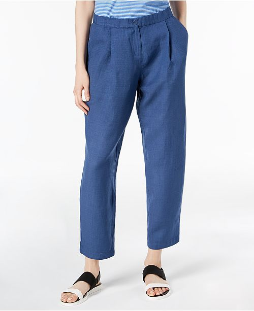 Eileen Fisher Linen Blend Pleated Ankle-Length Pants, Regular & Petite