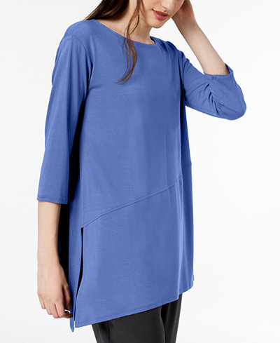 Eileen Fisher Stretch Jersey Asymmetrical-Hem Tunic, Regular & Petite