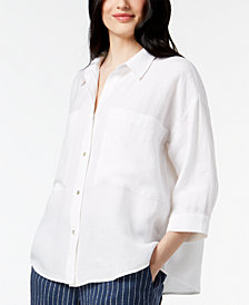Eileen Fisher Tencel® Blend Relaxed 3/4-Sleeve Shirt, Regular & Petite