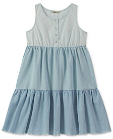 Calvin Klein Tiered Cotton Dress, Big Girls