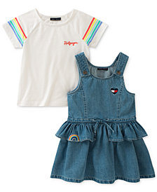 Tommy Hilfiger 2-Pc. Cotton T-Shirt & Cotton Denim Dress Set, Toddler Girls