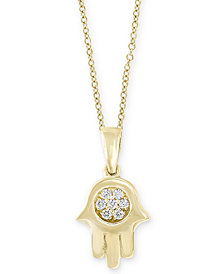 "D'Oro by EFFY® Diamond Accent Hamsa Hand 18"" Pendant Necklace in 14k Gold"