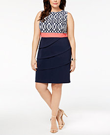 Connected Plus Size Printed & Tiered Sheath Dress
