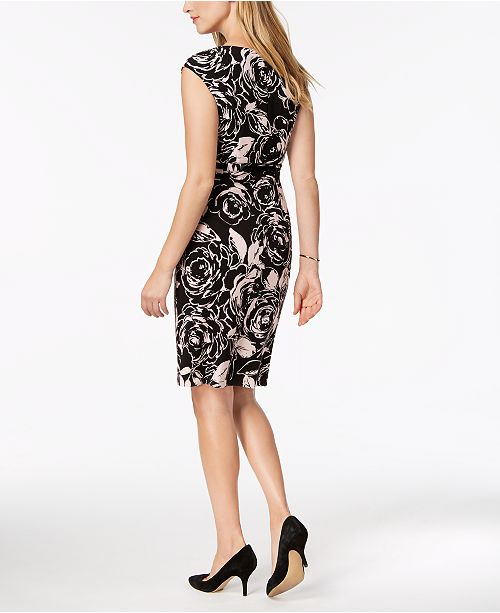 Belted Sheath Printed Petite Dress Connected Bls Hq5ngSvz