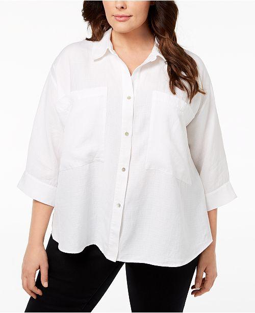 cc11628573e Eileen Fisher Plus Size Tencel® Blouse   Reviews - Tops - Plus Sizes ...