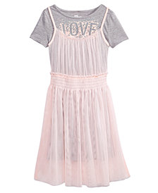 Epic Threads Love Mesh T-Shirt Dress, Big Girls, Created for Macy's