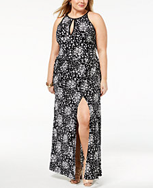 MICHAEL Michael Kors Plus Size Printed Keyhole Maxi Dress