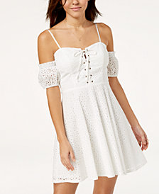 City Studios Juniors' Cold-Shoulder Eyelet Dress